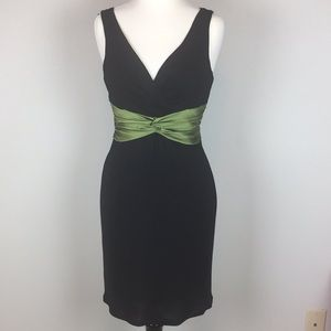 Cocktail Dress w/ emerald green waist